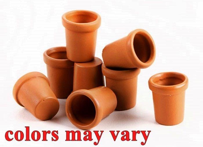 MINIATURE 8 Pc SET CLAY POTS for FAIRY GARDEN or DOLLHOUSE FAUX TERRACOTTA NIP