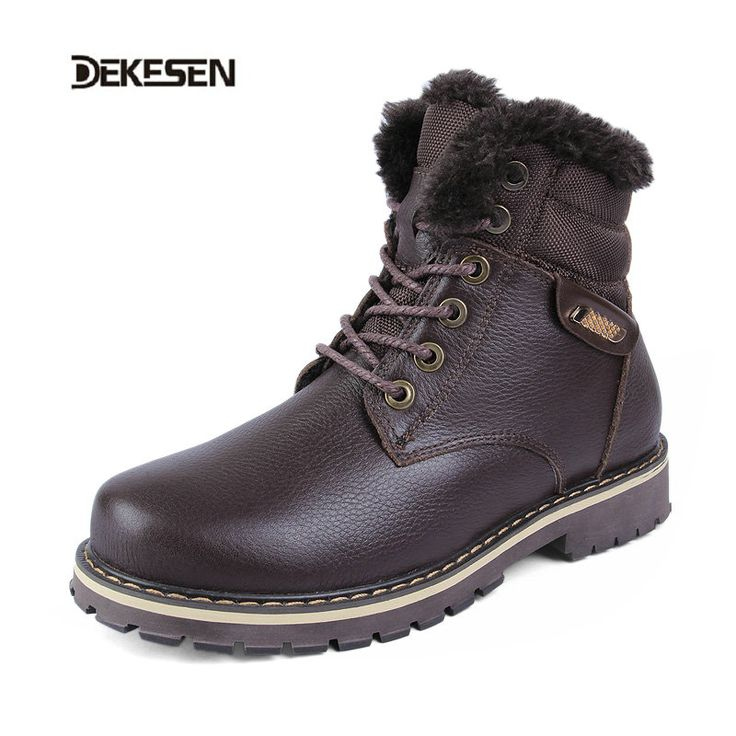 DEKESEN Full grain leather Men Winter Boots Size 38~50 Russian style Handmade Warm Plus Size Men Winter Shoes winter warm boots