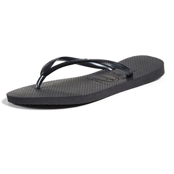 Havaianas Slim Flip Flops ($26) ❤ liked on Polyvore featuring shoes, sandals, flip flops, black, slim flip flops, rubber sandals, kohl shoes, havaianas shoes and rubber shoes