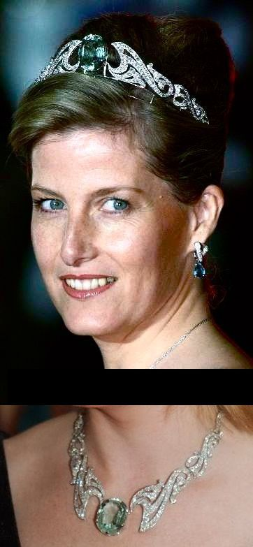 Wessex Aquamarine and Diamond Necklace Tiara. HRH Sophie, Countess of Wessex debuted her convertible Aquamarine Tiara during the Coronation festivities of Prince Albert II of Monaco in 2005