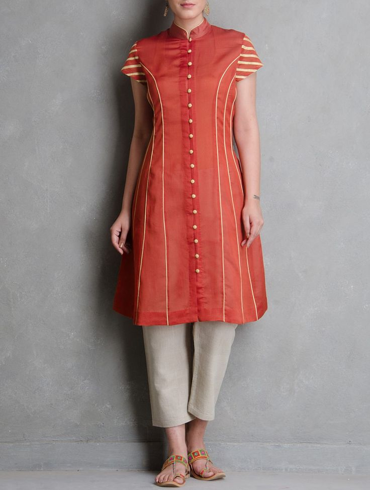 Buy Red Golden Button Down & Zari Detailed Chanderi Jacket by Sonal Kabra Apparel Jackets Rangrekha Shibori Dyed Handwoven Tunics Dresses More Online at Jaypore.com