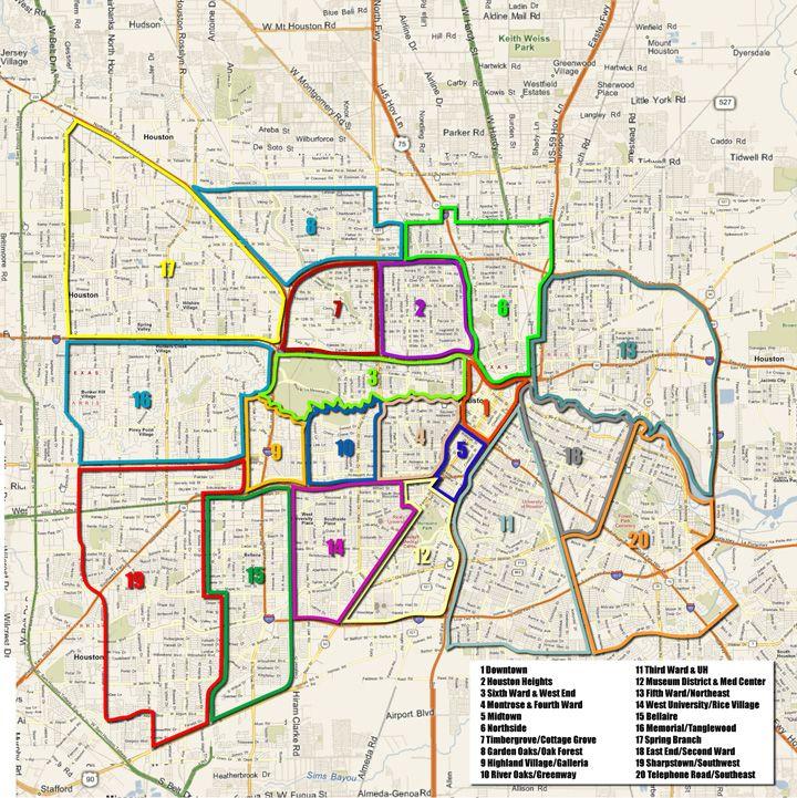 Houston Arts And Media  Projects  Neighborhoods  Map | MAPS - Houston Texas U0026 Surrounding ...