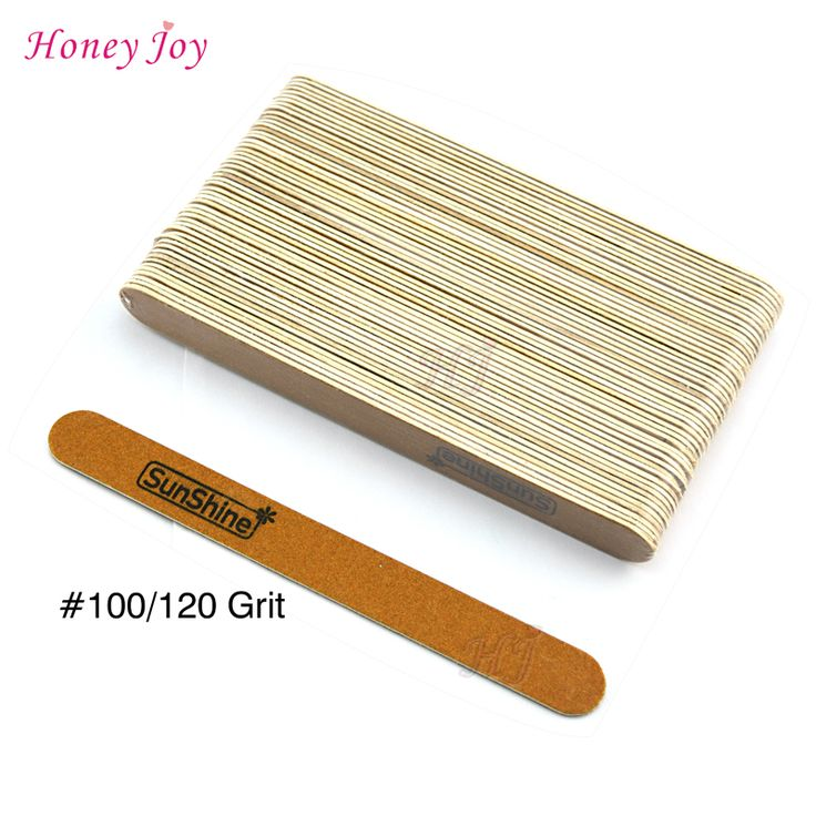 50pcs/lot Well Fit Nails Edge Wooden Nail Files 0.15mm Thin Manicure Natural Nails File Double Sided Coarseness Grit 100/120