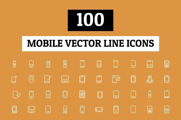 100 Mobile Vector Line Icons by Creative Stall on @creativemarket