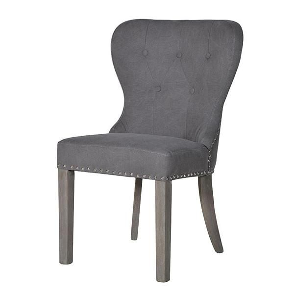 Button Back Grey Upholstered Dining Chair with wooden legs - Modish Living