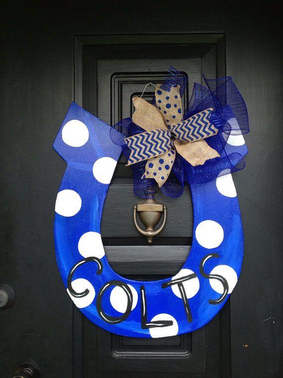Indianapolis Colts horseshoe door by shutthefrontdoor2 on Etsy, $40.00