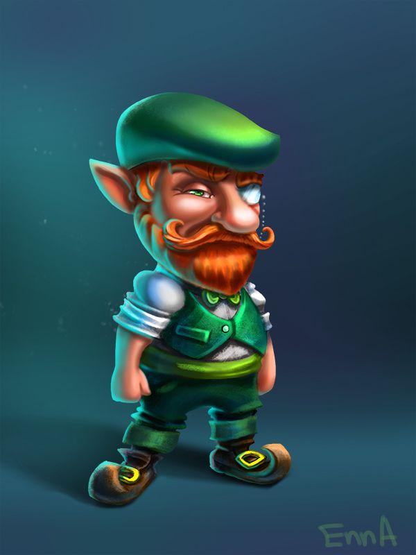enna artist -Leprechaun character on Behance, red beard, 2d art