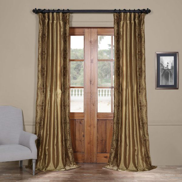 Chai Embroidered Damask Room Darkening Rod pocket Single Curtain Panel