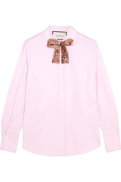 Bubblegum cotton-poplin Concealed button fastenings through front 100% cotton; trim: 100% polyester; embroidery: 80% glass, 20% metal fibers Dry clean Designer color: Pale Mirabelle Rose Made in Italy
