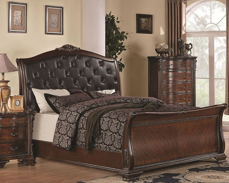 Black Upholstered Headboard For Classic Bedroom With Dark Brown Furniture Sets