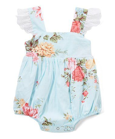 3d4f2ff8b Look what I found on #zulily! Light Blue Floral Lace Angel-Sleeve Bubble  Romper - Infant & Toddler #zulilyfinds
