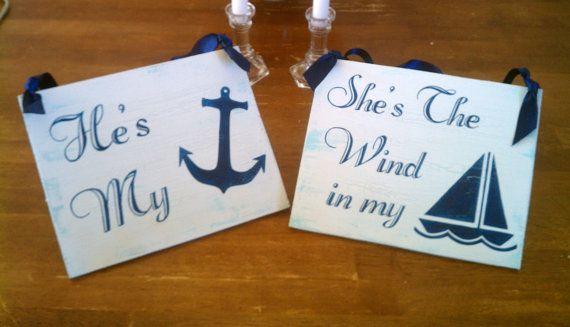 Nautische Hochzeit Schilder Holz Navy Blue Beach von RomanticPlanet