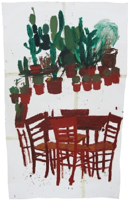 "Pesce Khete, ""Untitled"", 2008, oilsticks and masking tape on cotton paper, 216 x 140 cm"