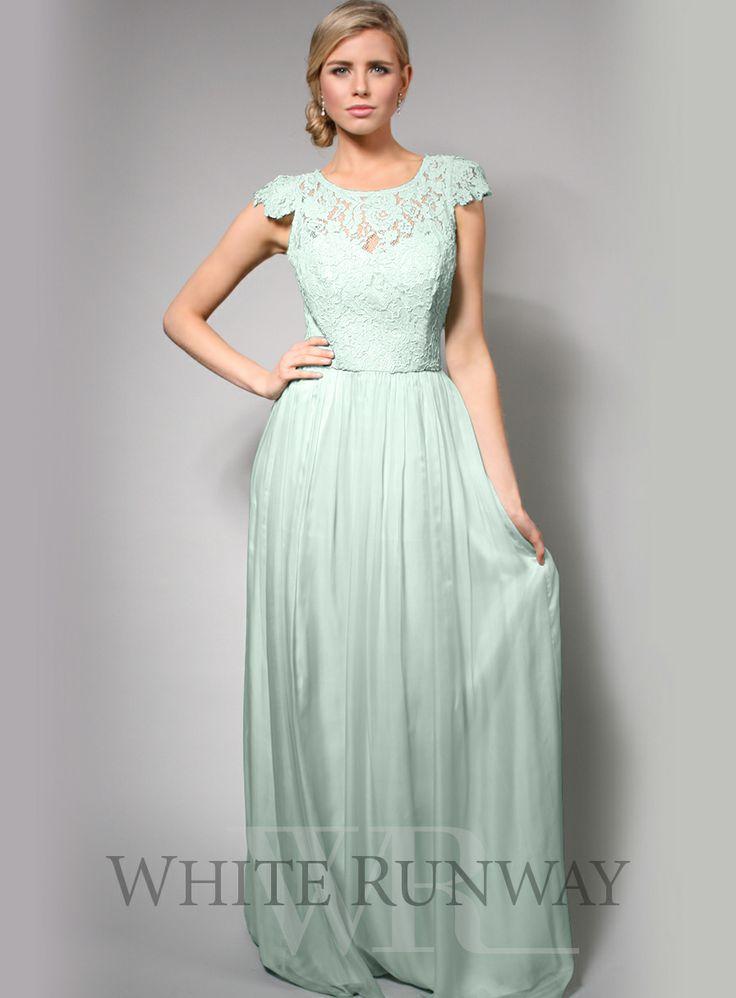 Letitia Crochet Mint Bridesmaid Silk Dress