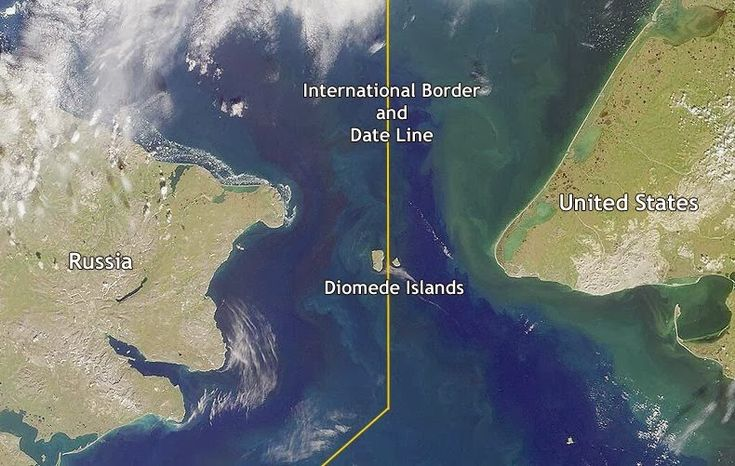 The Diomede Islands are a pair of islands located in the middle of the Bering Strait. They are separated by the International Date line which also marks the international border between Russia and the United States. amusingplanet.com