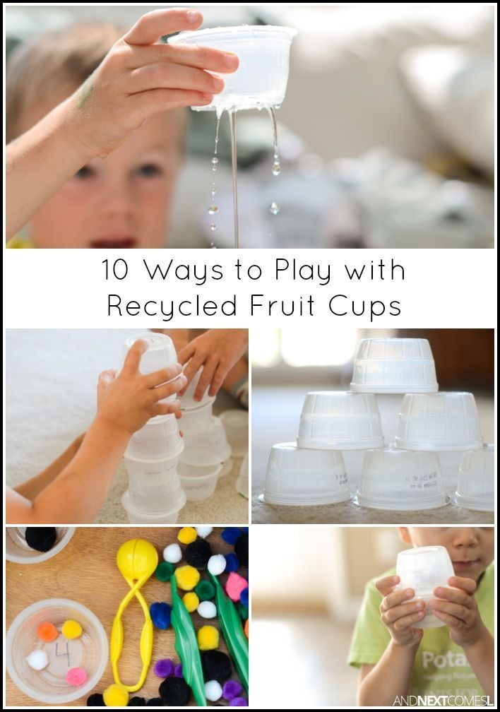 10 ways for kids to play, learn, and craft with plastic, individual serving size applesauce or yogurt cups - simple boredom buster…
