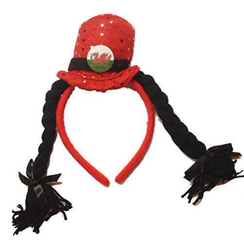 From 4.99:Wales Welsh Supporter Novelty Hat & Plaits Headband [wa133] | Shopods.com