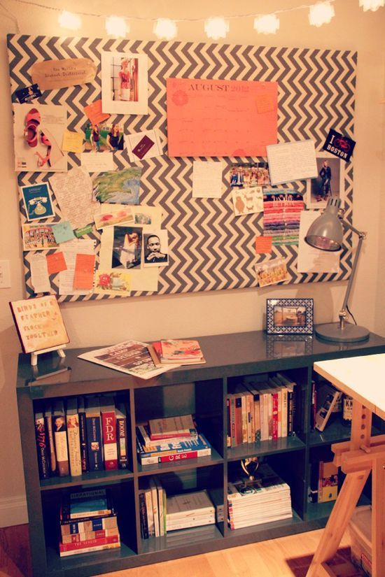 DIY fabric covered cork board this would go perfect on that blank wall in the office. Simple yet brilliant!