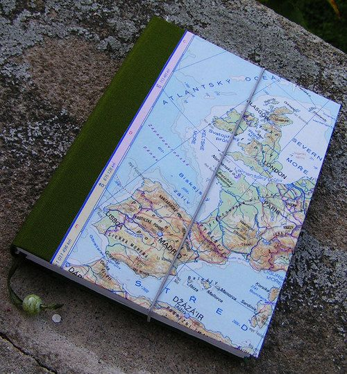 Handmade diary Material: canvas, old paper map