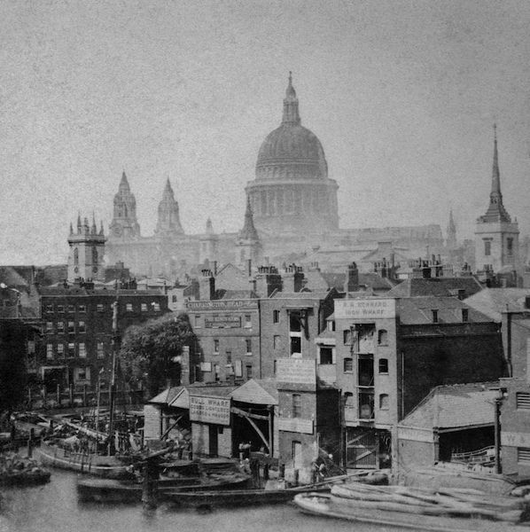 St Pauls, viewed from Bull Wharf on the river c 1870