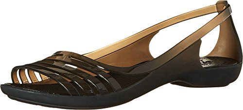 crocs Womens Isabella Huarache Flat W Jelly Sandal Black 9 M US *** For more information, visit image link.