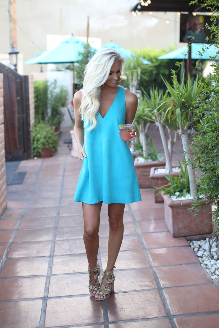 Dress: Free People | Sandals: Dolce Vita| Earrings: Anthropologie | Ring: Anna Beck | Watch: Michael Kors | Lipstick: Yves Saint Laurent–Rose Bergamasque This Free People shift dress is the perfect suede mini dress for Summer! This blue color is so beautiful and it also comes in 4 others! Plus you know when you find …