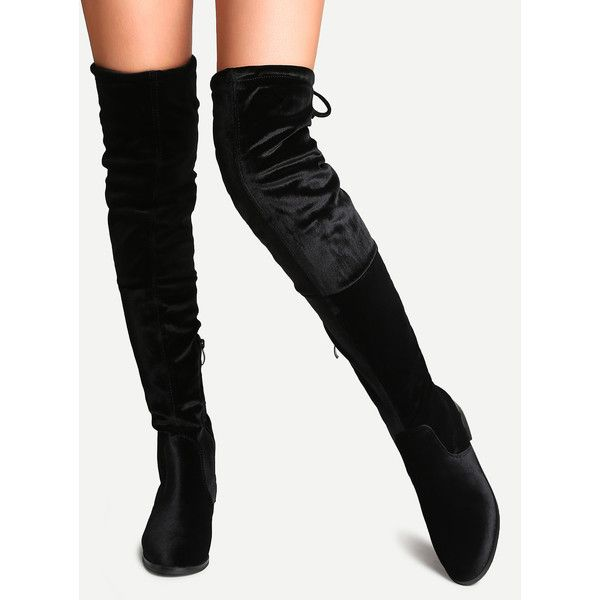 Black Faux Suede Side Zipper Tie Back Over The Knee Boots ❤ liked on Polyvore featuring shoes, boots, kohl boots, side zip boots, black above the knee boots, black thigh-high boots and faux suede thigh high boots