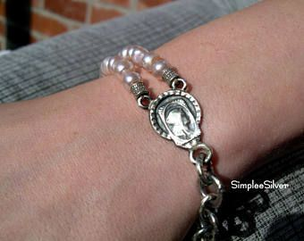 Joyería hecha a mano - Perla pulsera - fina medalla religiosa de plata - cadena gruesa - joyas de perlas agua dulce - SimpleeSilver