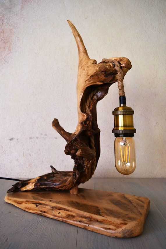 Driftwood Edison Lamp Bedside Lamp Night Wood Lamp Vintage Edison Bulb Housewarming Gift Driftwood Bedroom Light Vintage Lamp Socket
