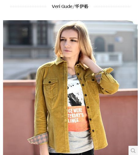 Veri Gude Spring and Autumn Corduroy Blouse Women Shirt British Style Slim Fit  Long Sleeve 9 Colors