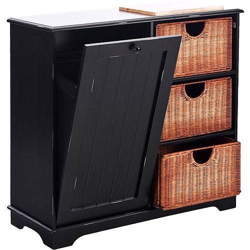 storage for the kitchen: Wicker Baskets, Idea, Storage Tables, Hidden Trash, Black Kitchens, Kitchens Islands, Trash Bins, Storage Baskets, Bins Storage
