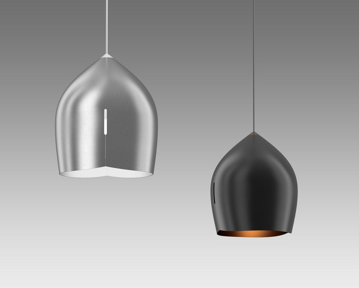 The SF Pendant Lights are spun, die cut and folded to create forms that look different from every angle.