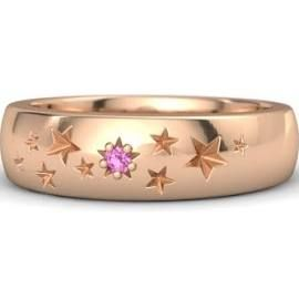 18K Rose Gold Ring with Pink Sapphire – Supernova Band