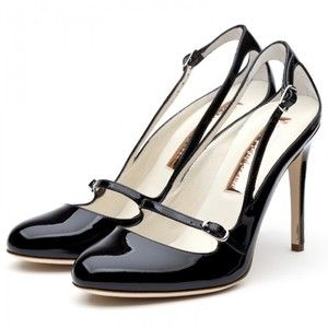 classic black with a cut out.Heels Mary, 1960 S Style, Patent High, Sanderson Black, Rupert Sanderson, High Heels, Mary Jane, Classic Black, Black Patent
