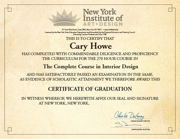 1000 images about new york institute of art and design on for Interior decorator certificate online