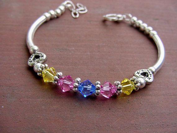 Crystal Birthstone Bracelet Swarovski Crystal Birthstone