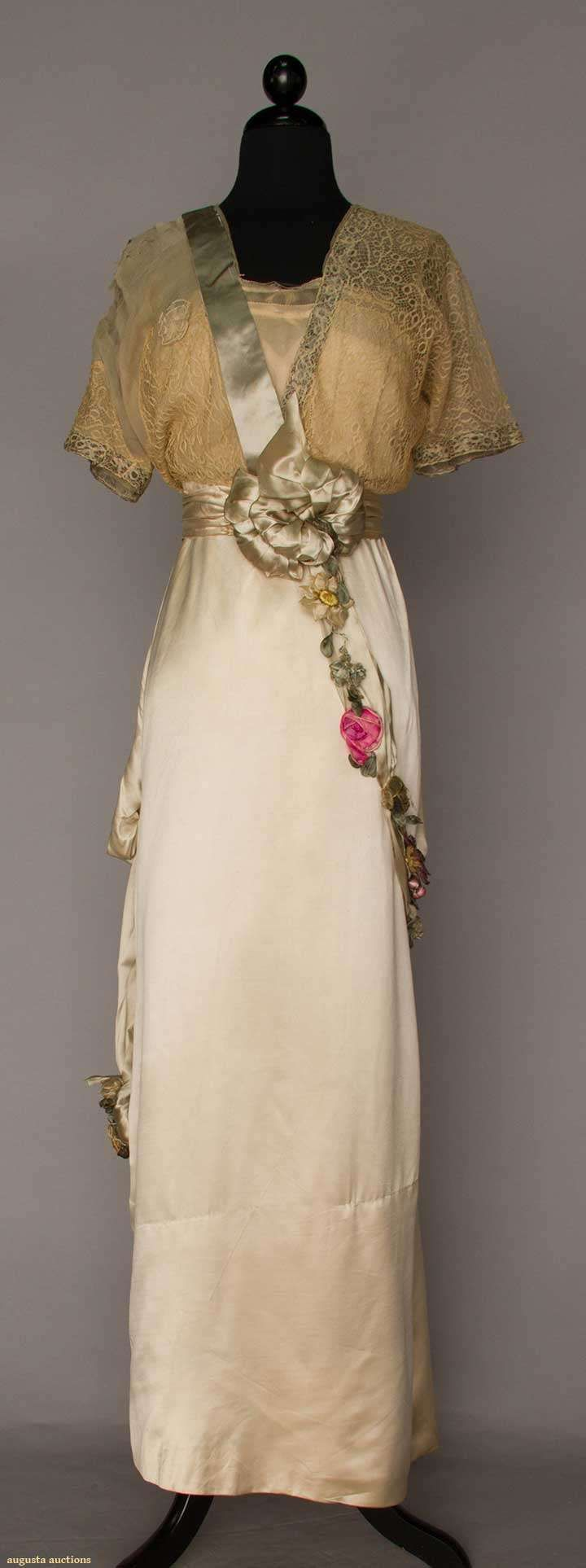 SILK SATIN EVENING GOWN, JEANNE HALLEE, PARIS, c. 1912 Lot: 1012 May 10, 2016…