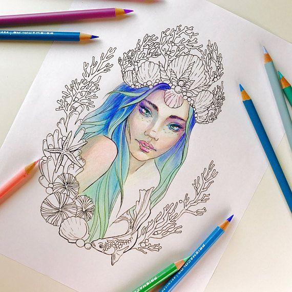 Adult Coloring Page Mermaid