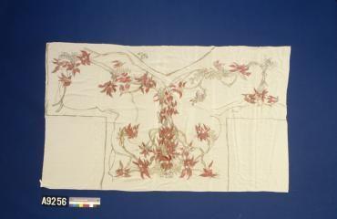 Textile, length, hand painted silk, cream, Sturt's Desert Pea design, Lucy Dalgarno, Australia, 1930 . - Powerhouse Museum Collection. Shows a distinctly Japanese influence.