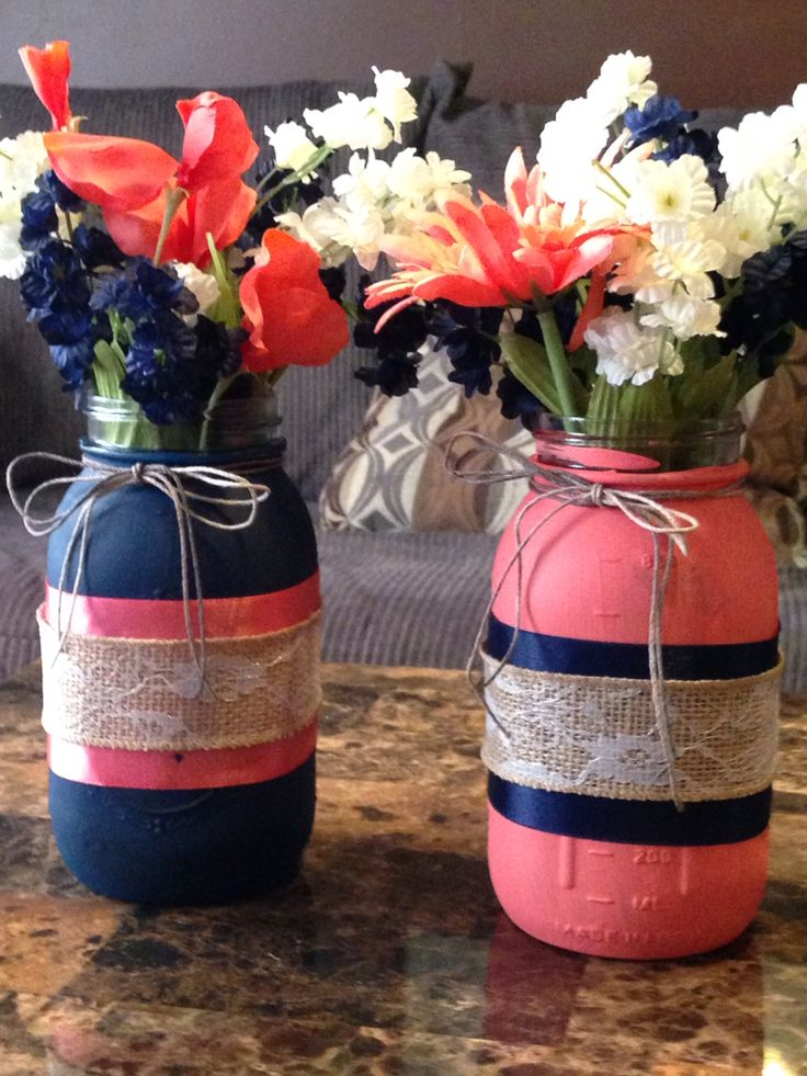 Coral, navy blue, lace and burlap