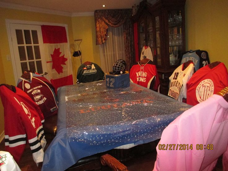 Decoration; table and room. I used blue plastic table cloth; and then added letters to spell HP & child's name.  I put clear plastic wrap with white dots over it; it made the table look like a pond with snow flakes.  Each chair was covered with a hockey jersey. Any one who arrived not wearing one was invited to borrow a jersey's to wear  to the game.    It's a great way to put all those accumulated house league hockey  jerseys to use.  Flags hung close the the ceiling much like at arenas.
