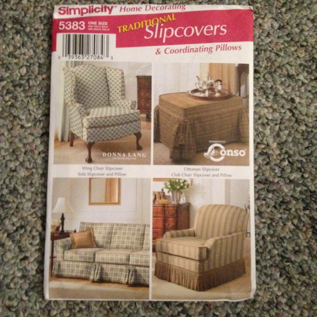 Sewing pattern slip covers for wing chair ottoman sofa for Furniture cover sewing patterns