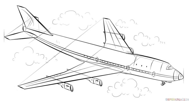 how to draw an airplane for beginners