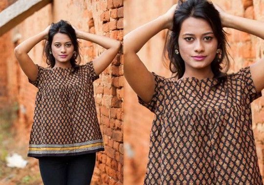 Kalamkari top rustic rhymes by sini - pc - 10013