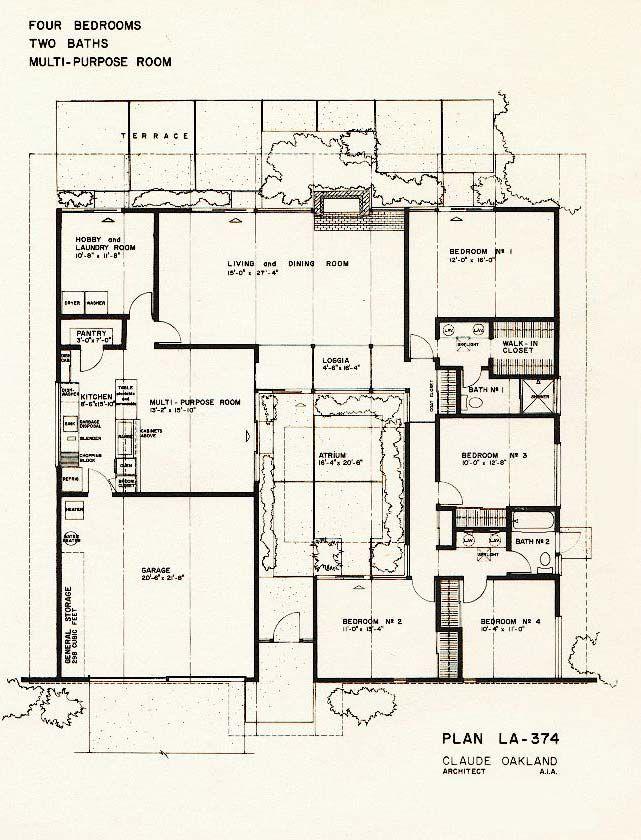 15 best images about mid century floor plans on pinterest for Atrium home plans