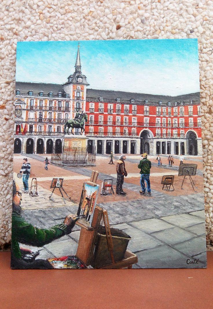 Plaza Mayor. Óleo sobre tabla. 27x22.