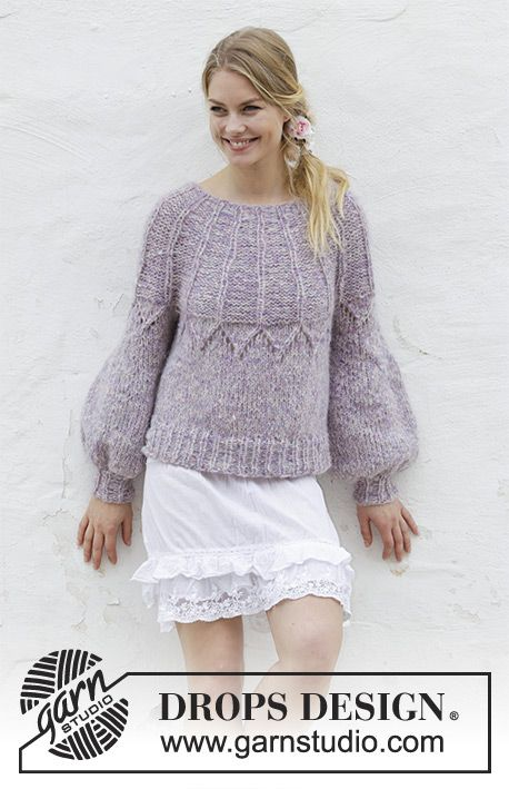 Fair Lily / DROPS 191-4 - Knitted sweater with lace pattern and round yoke