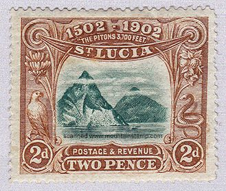 www.mountainstamp.com Santa Lucia island stamp Twin peaks 1902