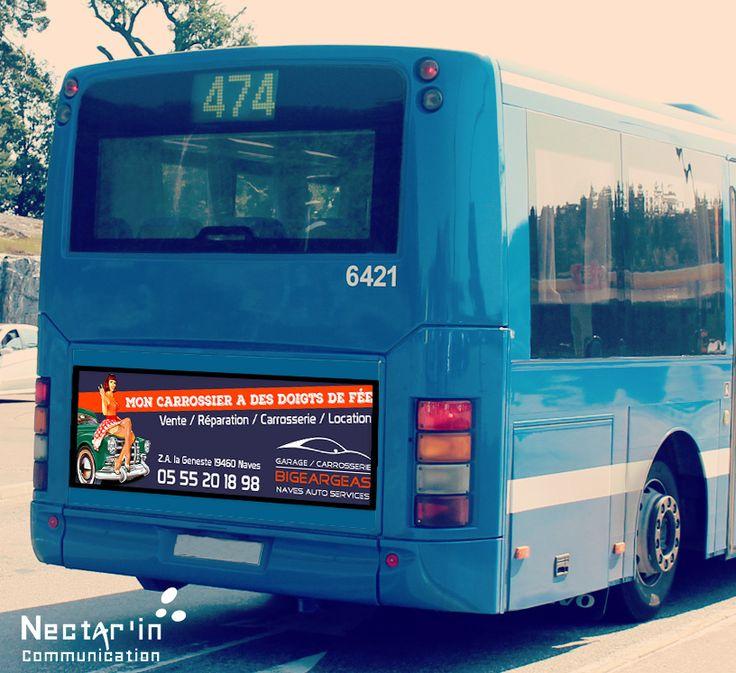Publicité pour campagne d'affichage sur Bus. Client : Garage/Carrosserie Bigeargeas