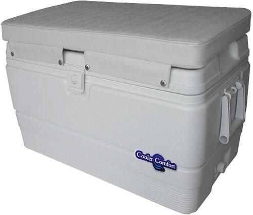 "In Stock   Premium quality marine cooler cushion.  Fits 120 - 128qt popular brand coolers.  (Igloo 128qt)   Features flaps on both sides with stainless snaps.  Loose male snaps are provided in the instance that your snap locations vary slightly.  5200 Marine Adhesive or screws can be used to install loose snaps if necessary.Made from UV resistant marine grade vinyl, 2"" Ultra High density foam, and stainless hardware.  Available in bright white and off-white.  This is for the cushio..."